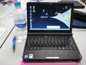 600ml water bottle and pen included to help you see the small size of the laptop